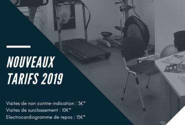 CENTRE MEDICO SPORTIF – NOUVEAUX TARIFS 2019